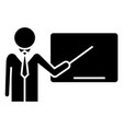 lecturer - presentation with pointer icon vector image