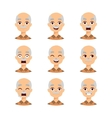 Old man emotions icons vector image