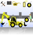 service and diagnostics backhoe loader vector image