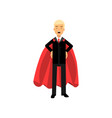 successful man in red superhero cape standing with vector image