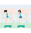 women doing exercise on aerobic step vector image