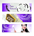 Happy halloween horizontal banner vector image