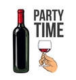 Red wine bottle and hand holding a glass vector image vector image