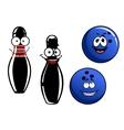 Happy smiling cartoon bowling pins and balls vector image vector image