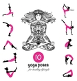Yoga poses asanas pictograms composition poster vector image vector image