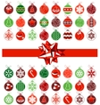 template with various christmas balls vector image vector image