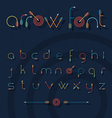 font alphabet shaped like archery arrows vector image vector image
