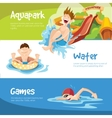 The cheerful boys rides on water hills vector image