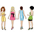Beautiful girls in bright evening dresses 1 vector image