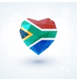 Flag of South Africa in shape diamond glass heart vector image
