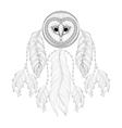 Hand drawn zentangle Dreamcatcher with tribal Owl vector image