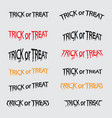 set of trick or treat calligraphy abstract vector image