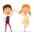 small boy and little child girl dancing smiling vector image