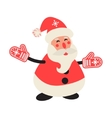 Cartoon happy Santa Claus in red mittens vector image