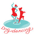 dog dancing icon girl with dog dance on vynil vector image vector image