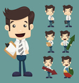 Set of businessman characters poses with charts vector image