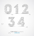 low poly wired numbers font vector image vector image
