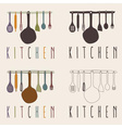 kitchen utensils set design template vector image