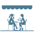 girl sitting in the cafe vector image