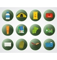 Camping with kids buttons with shadow Set of flat vector image