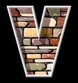 Stone letter V vector image