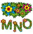 flowers alphabet 05 vector image