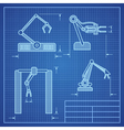 Robot arms blueprint machine industrial robotic vector image