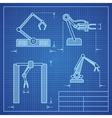 Robot arms blueprint machine industrial robotic vector image vector image