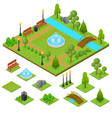 urban park and part set isometric view vector image