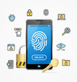 data security and safe concept mobile phone app vector image vector image