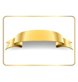 Gold satin ribbon on white 4 vector image