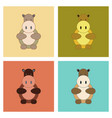 assembly flat icons kids toy hippo vector image