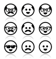 Bald man with mustache and in glasses faces icons vector image