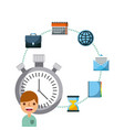 business people work chronometer time icons vector image