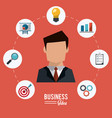 colorful poster of businessman with icons set vector image