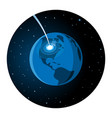 meteorite impacting earth round icon vector image