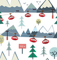 Ski sport and mountains seamless pattern with vector image