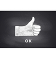 Drawing of hand sign thumbs up in engraving style vector image