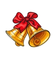 Golden Christmas bells with a red bow vector image