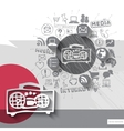 Hand drawn tape recorder icons with icons vector image vector image
