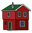 Old dark red house vector image