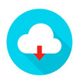 cloud upload flat circle icon vector image
