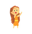 frightened girl with long hair with rash on her vector image