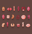 sausage and wurst smiling meat characters vector image