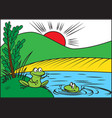 two cheerful frog vector image