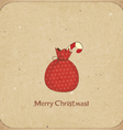 Christmas retro postcard with gift bag vector image