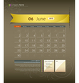 June 2013 Calendar vector image vector image