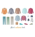 Mens Autumn Look Apparel Set Clothing Outerwear vector image