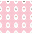 pattern background with cute smiling chicken eggs vector image