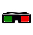 3d cinema glasses silhouette vector image